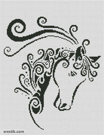 Вышивка схемы монохром лошадь