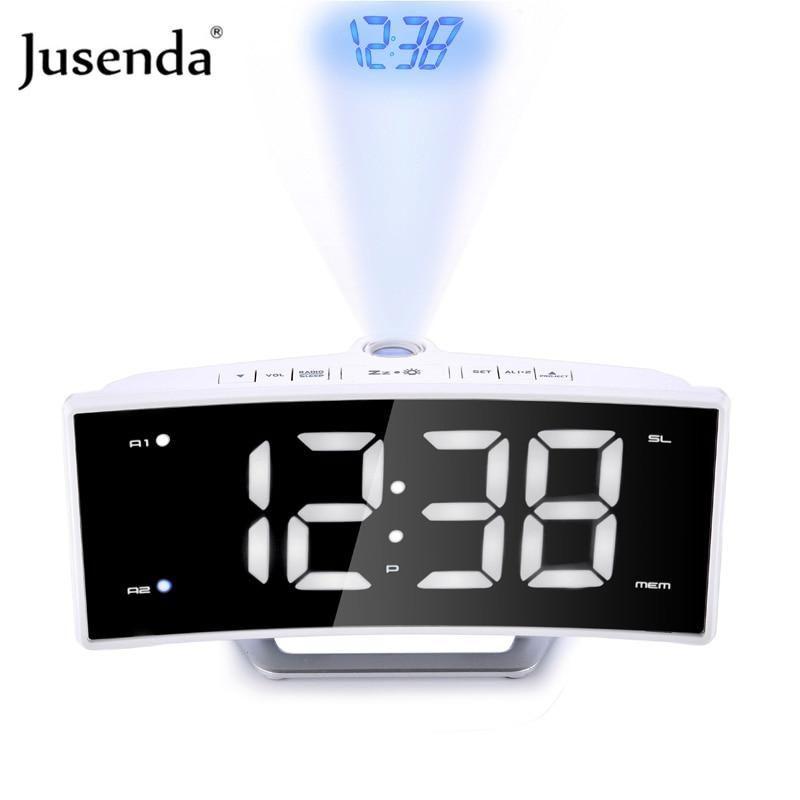 Mirror Fm Radio Alarm Clock Led Digital Electronic Table Projector