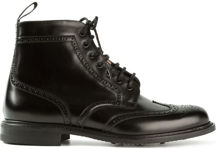 $762, Black Leather Brogue Boots: Church's Caldecott Brogue Boots. Sold by  farfetch.