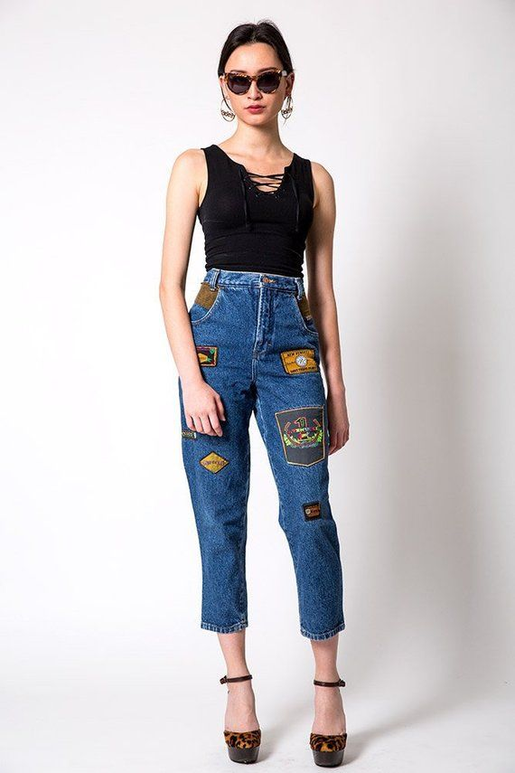 d026732a18f Gino Venucci Vintage Dark Wash Patched Don t Tread on Me Jeans Size ...