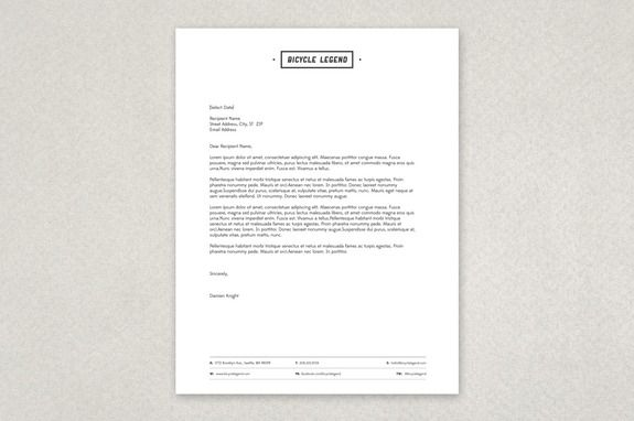 Bike Shop Letterhead Template - This letterhead template presents - contact information template