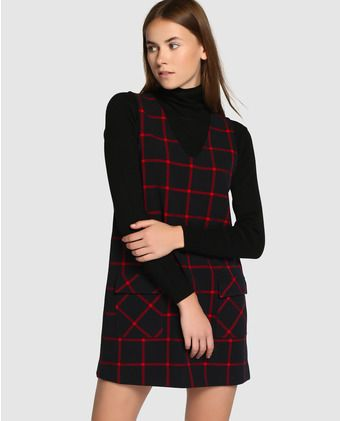 ce42c86e46935 Pichi de mujer Easy Wear de cuadros con bolsillos