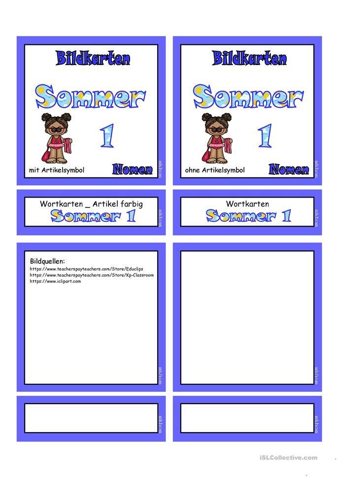 Sommer 1 _ Flashcards klein | Deutsch | Pinterest | Worksheets and ...