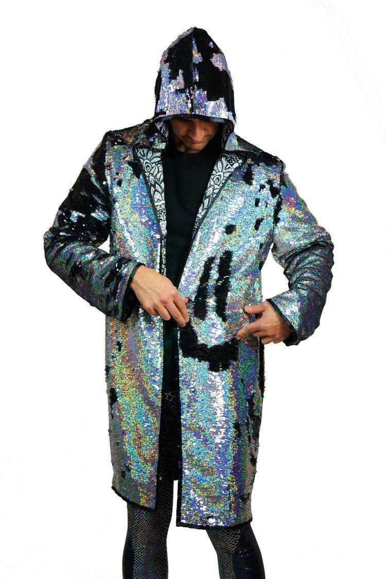 0258032bd29 Men's holographic flip reversible sequin coat by Love Khaos  @LOVEKHAOSDESIGNS #burningman #festivalfashion
