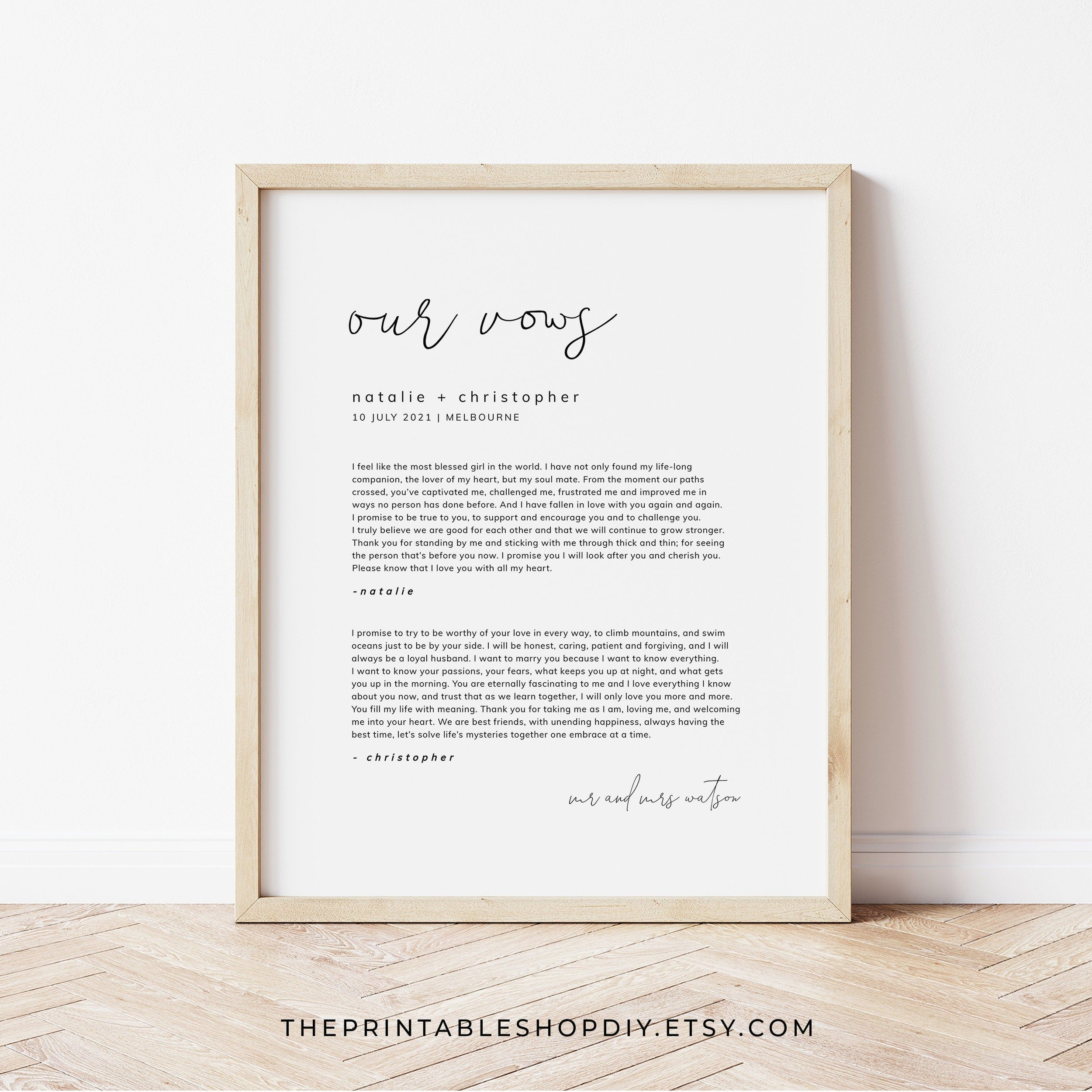 Anniversary Gift Vows Print Our Vows Wall Art Minimalist Wedding Sign Wedding Vow Keepsake Printable Vows Wedding Vow Art Wedding Signs Wedding Vows
