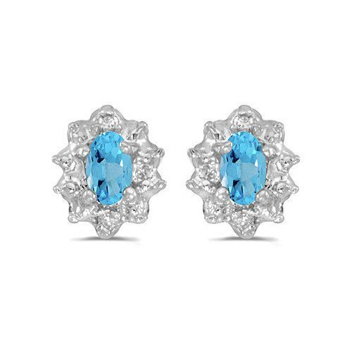 10K White Gold Oval Blue Topaz and Diamond Earrings (1/2ct tgw)