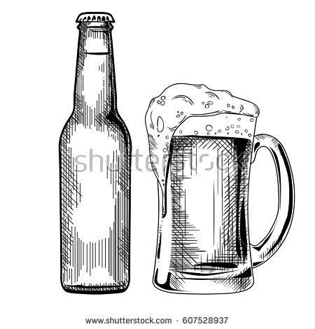 Beer Glass And Bottle Vintage Vector Engraving Illustration For Web Poster Invitation To Party Oktoberfe Beer Drawing Beer Bottle Drawing Wine Glass Drawing