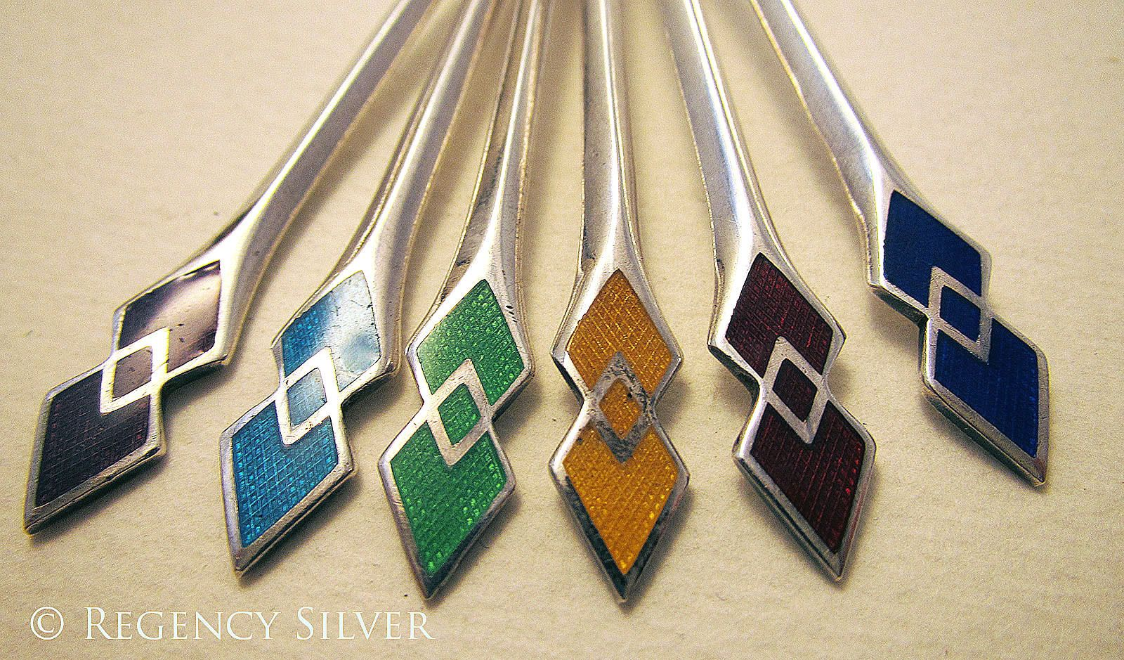 Superb Art Deco 1936 HM English Solid Sterling Silver Enamel Spoons Box Case SET