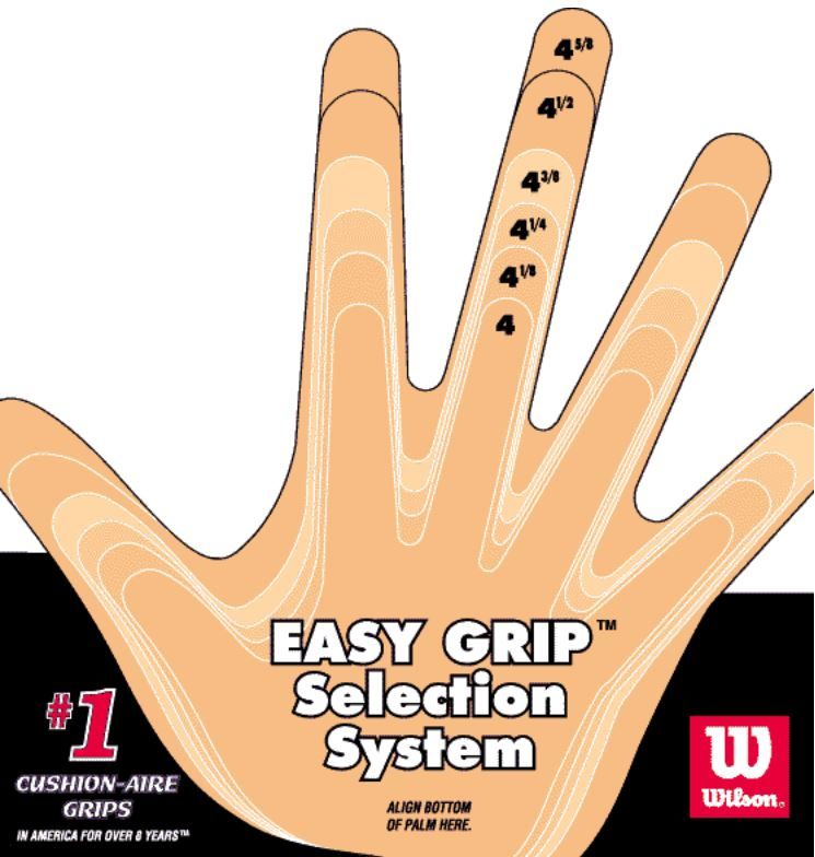 Tennis Grip Size Chart Tennis Racquet Tennis Grips Tennis