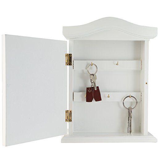 Elbmöbel.de Key Cabinet Wood White Antique Door Cabinet Wooden: Amazon.co.