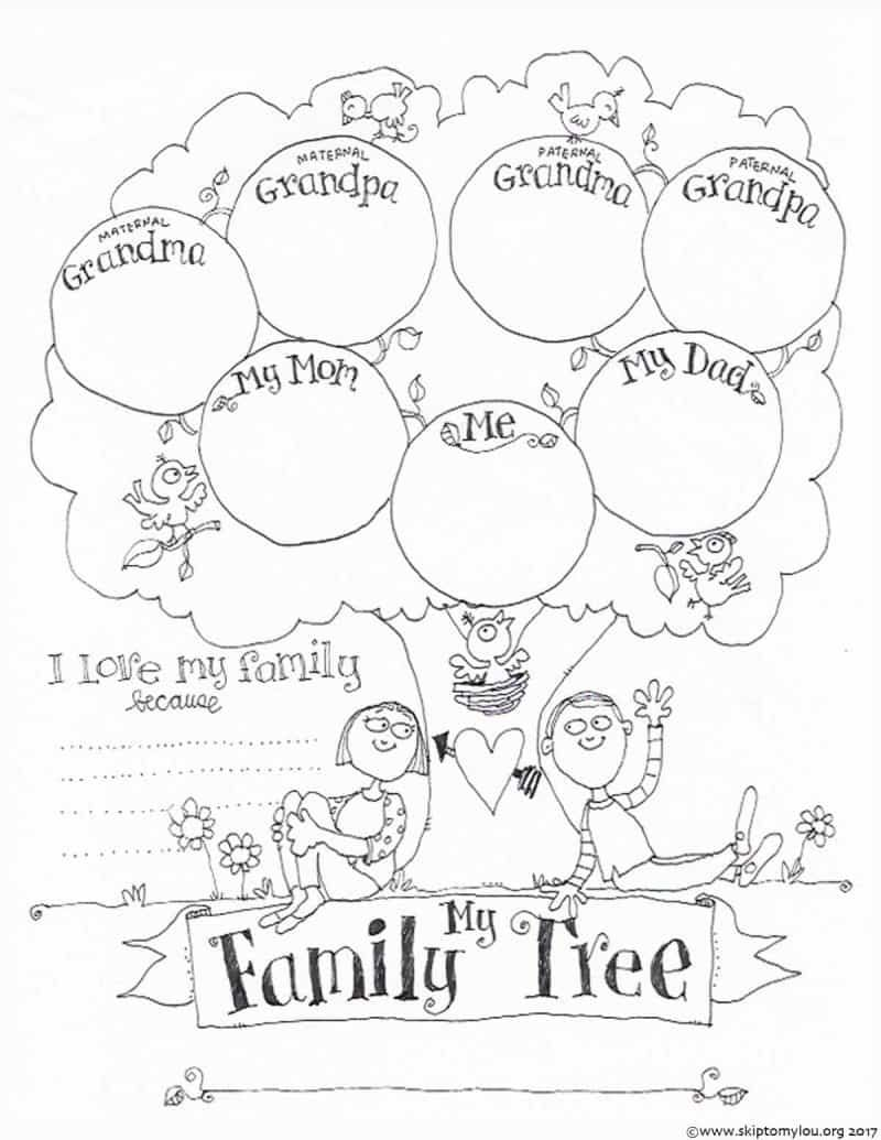 FREE Printable Family Tree Coloring Page Family tree