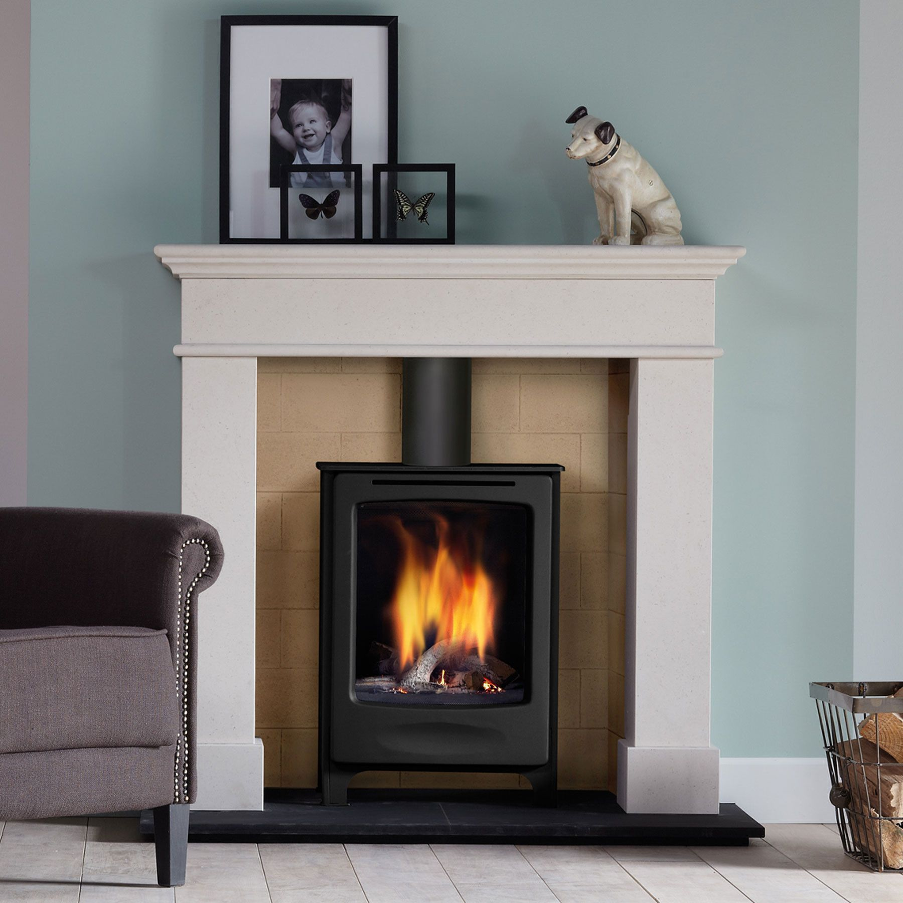 Global beau anthracite stove with cera glass Gas stove