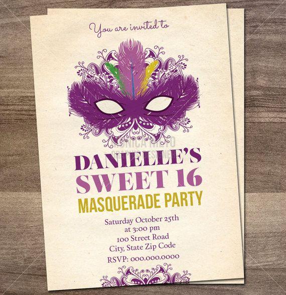 Printable Sweet 16 Masquerade Birthday Party Invitation/ Mardi Gras Birthday Invitation/ Quinceañera Invitation