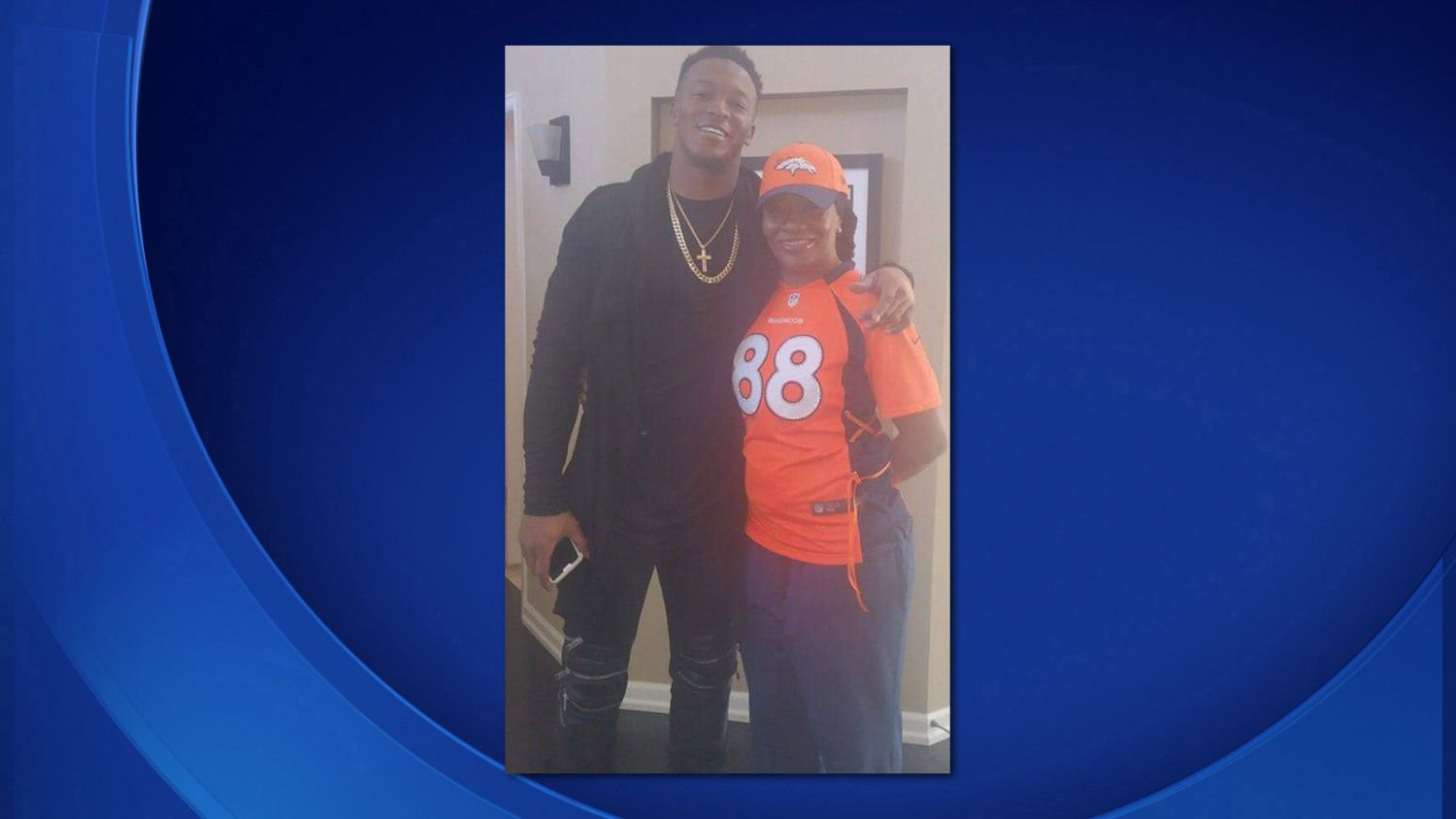 http://heysport.biz/ Demaryius Thomas's mom is sporting her son's jersey at Sunday's AFC Divisional Playoff game in Denver. It's the first time Katina Smith has seen her son play professional football.