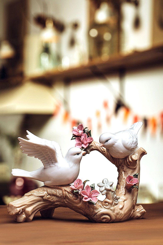 Doves on blossoming branch love birds couple porcelain