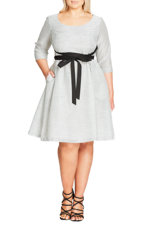 City Chic Ballerina Tie Waist Fit Flare Dress Plus Size Nordstrom Fit Flare Dress Work Dresses For Women Plus Size Dresses [ 3000 x 1956 Pixel ]
