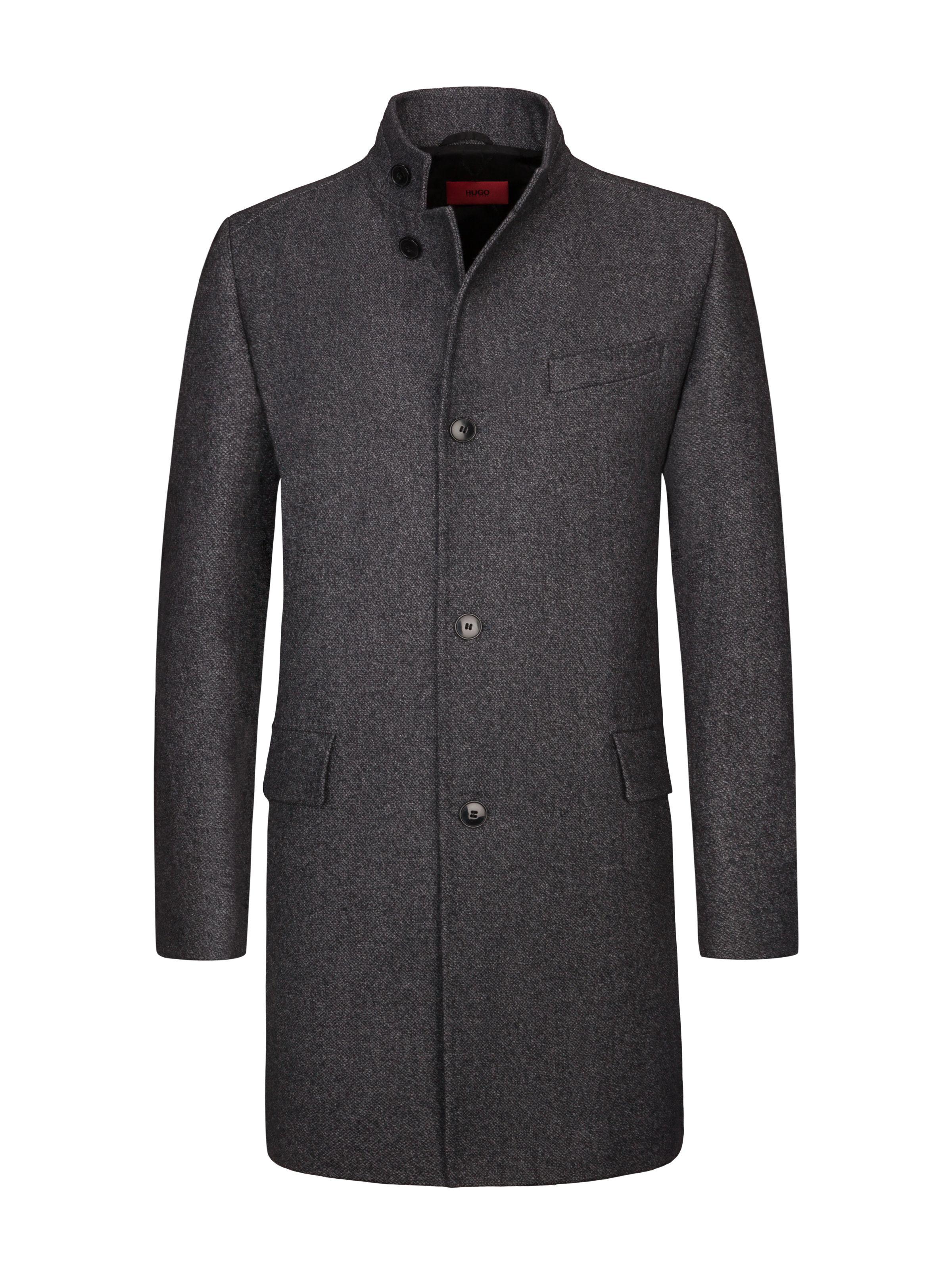 Hugo Melierter Wollmantel Mittelgrau Mantel Anzug Mode Herren Mantel