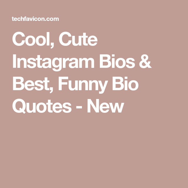 Cool, Cute Instagram Bios & Best, Funny Bio Quotes - New ...