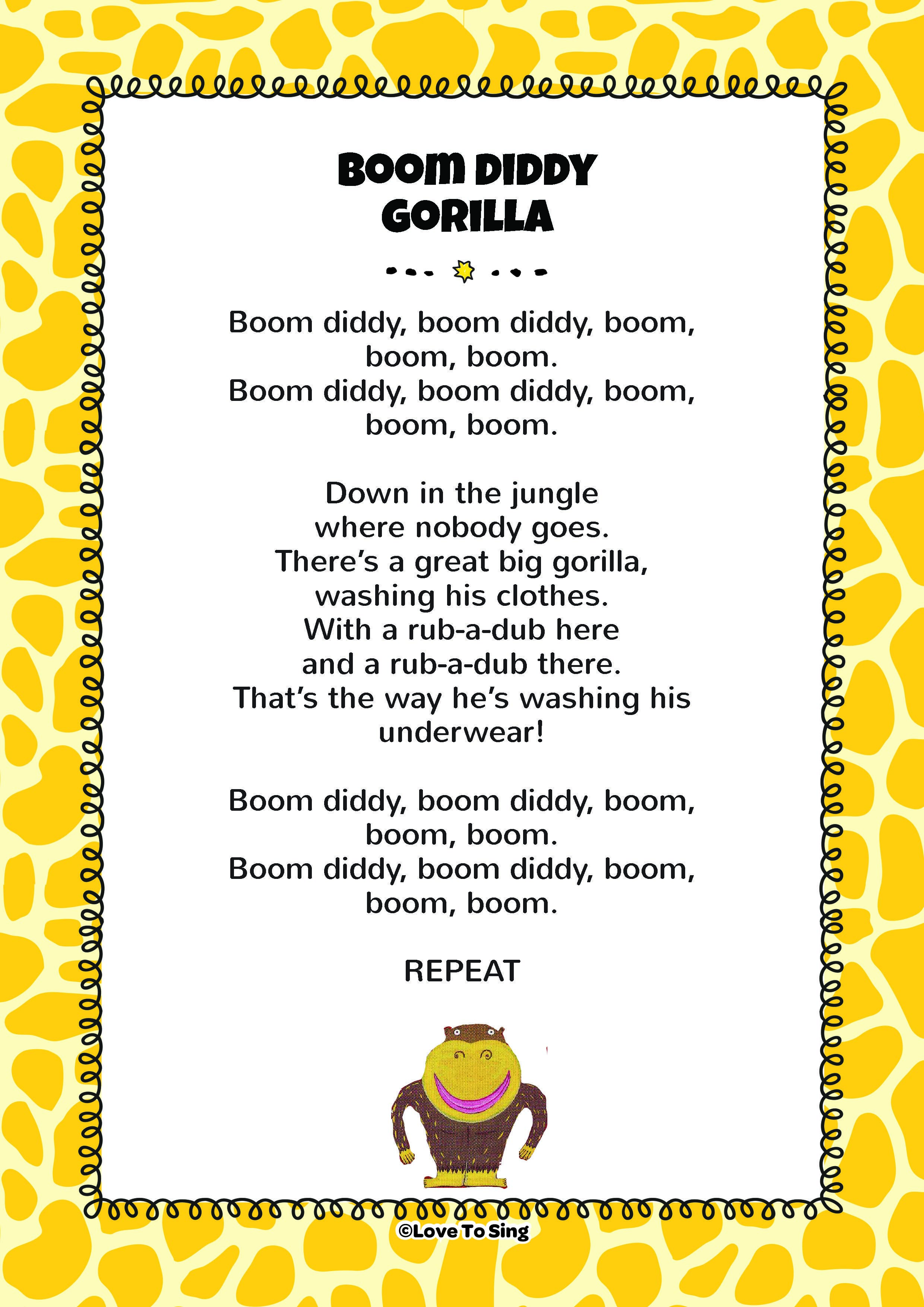 Boom Diddy Gorilla Song | 2018 KMR Letter Poems & Songs