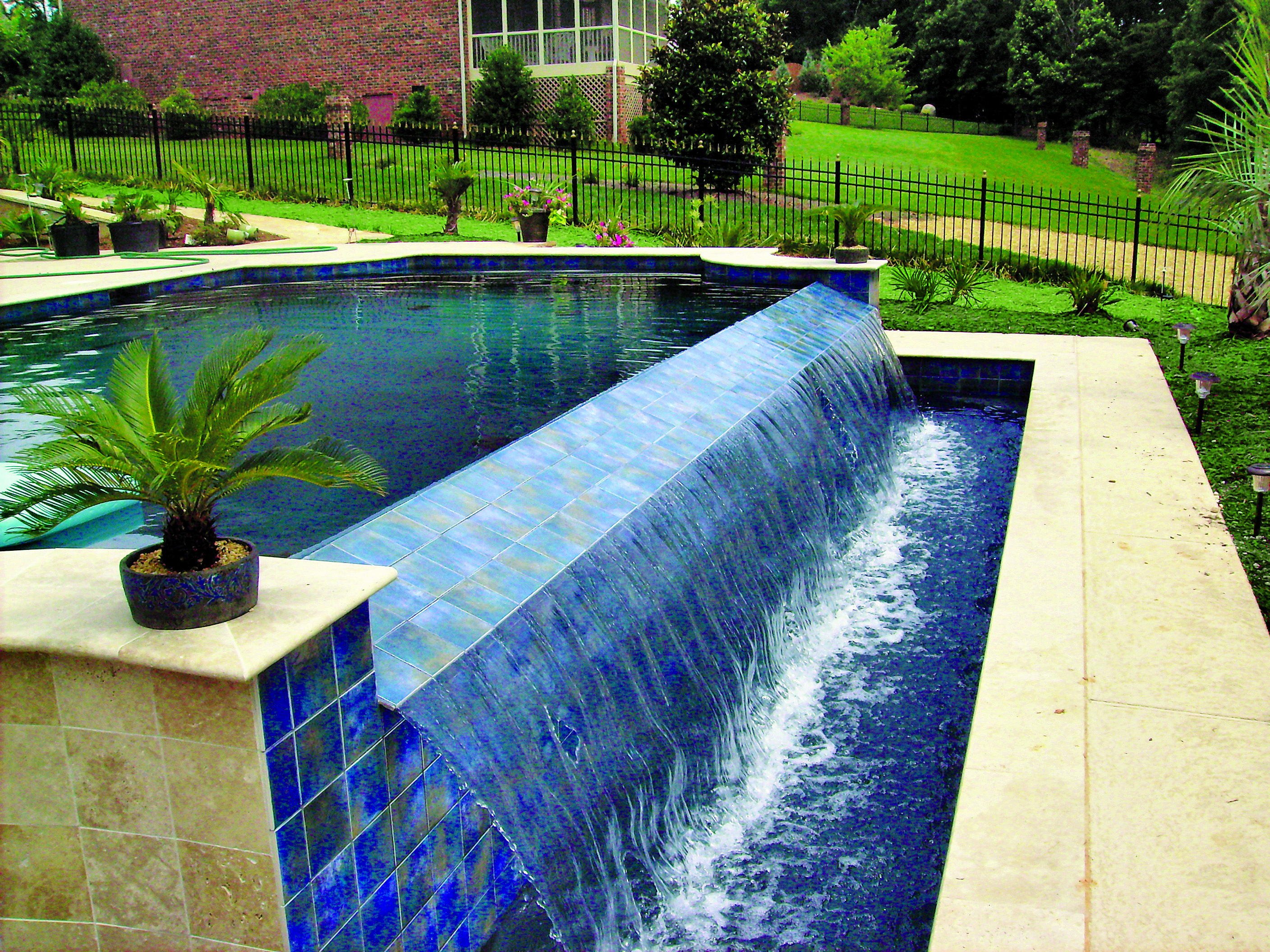 Infinity Pool With Vanishing Edge Waterfall Built In Charlotte, Nc