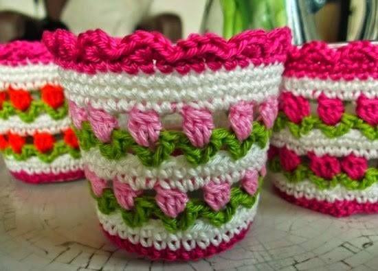 funda para maceta con flores | crochet | pinterest | macetas