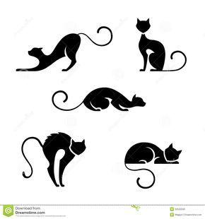 Cat Symbols Set Five Black Silhouette White Background 32533593 Jpg Imagem Jpeg 1300x1390 Pixeis Cat Silhouette Tattoos Black Cat Tattoos Cat Outline