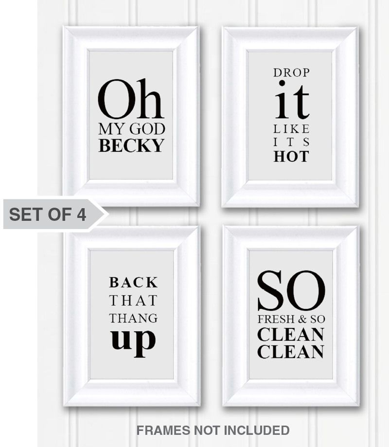 funny sayings bathroom wall art decor photo set of 4 on bathroom wall decor id=84540