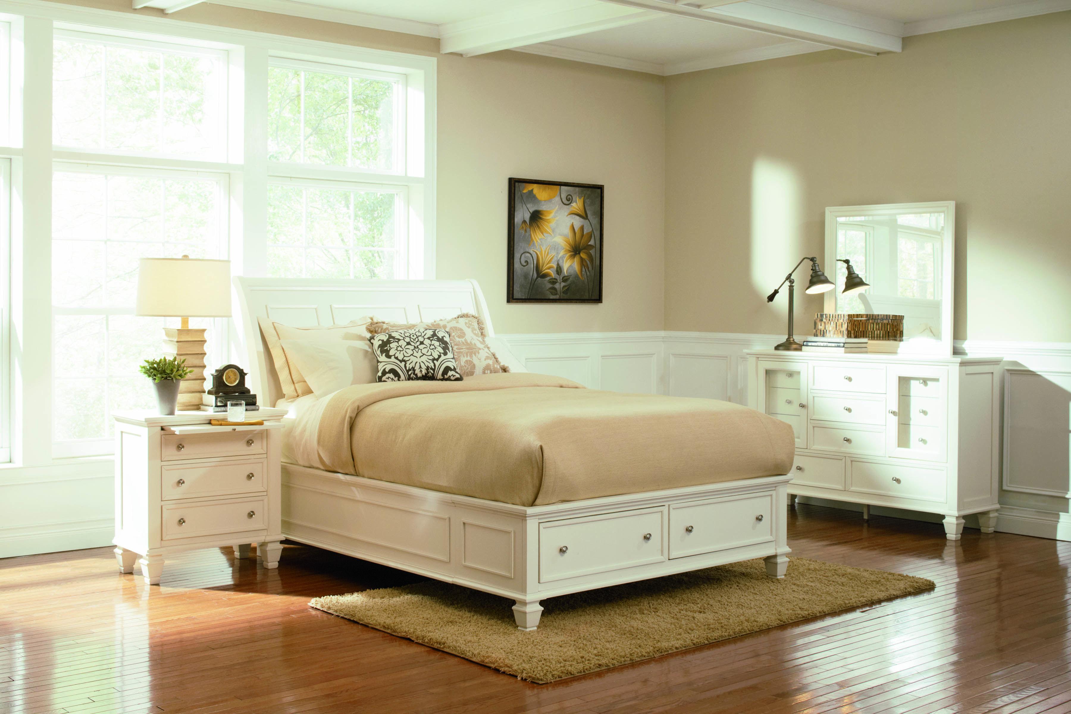 » Hayli White King Storage Bed White bedroom set