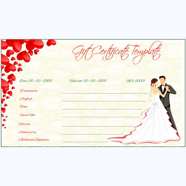 Wedding Theme Gift Certificate Template Weddinggiftcertificate