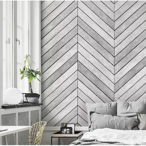 Accent Wall For Room With Panelling: Malbon Wood Accent 2-Panel Peel And Stick Mural