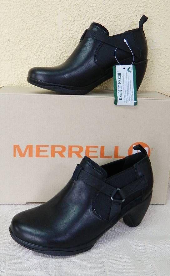 Merrell Evra Rush Leather Shootie Bootie 7/37.5 9.5/40.5 Black NIB #Merrell