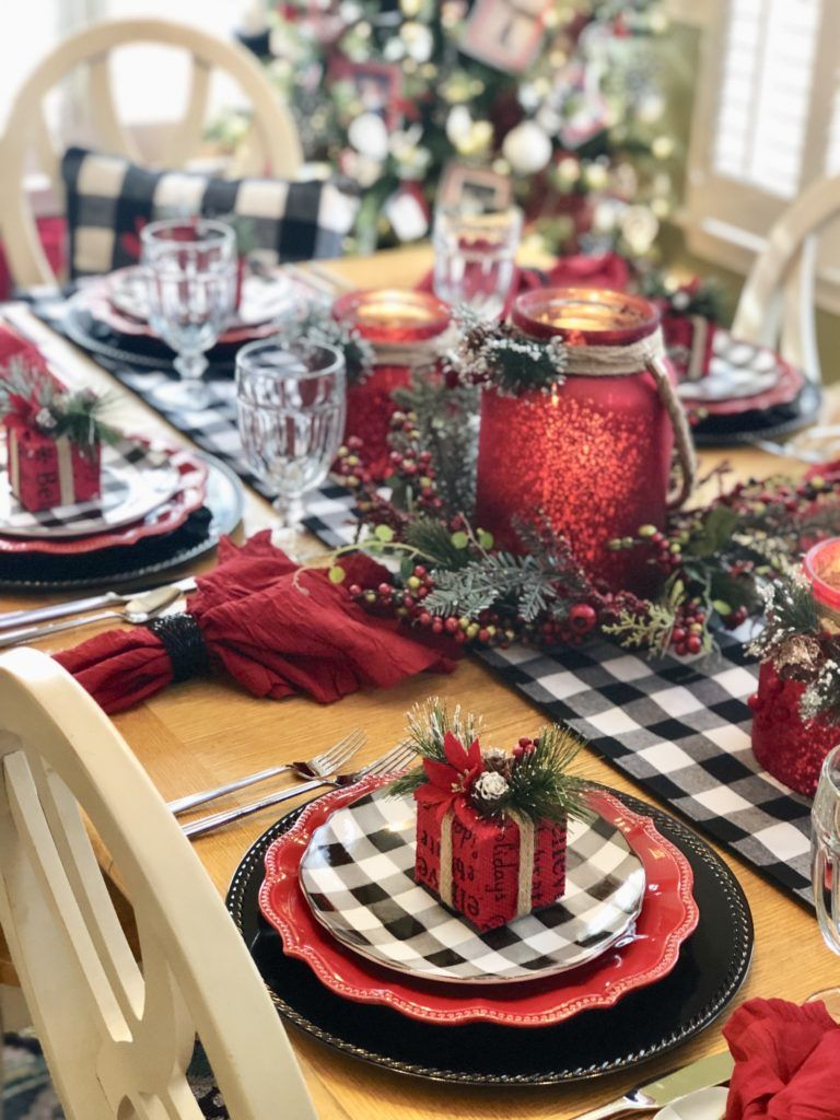 Let It Snow Let It Snow Let It Snow Black And Red Tablescape Christmas Table Decorations Christmas Decorations Christmas Table Settings