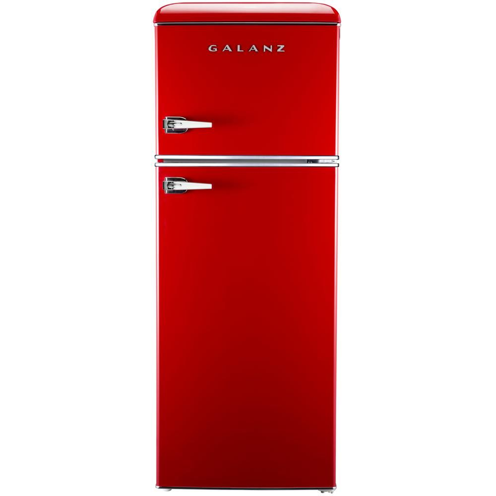 Galanz 7 6 Cu Ft Mini Retro Refrigerator In Red Bcd 215v 62h The Home Depot Retro Refrigerator Vintage Refrigerator Refrigerator Sale
