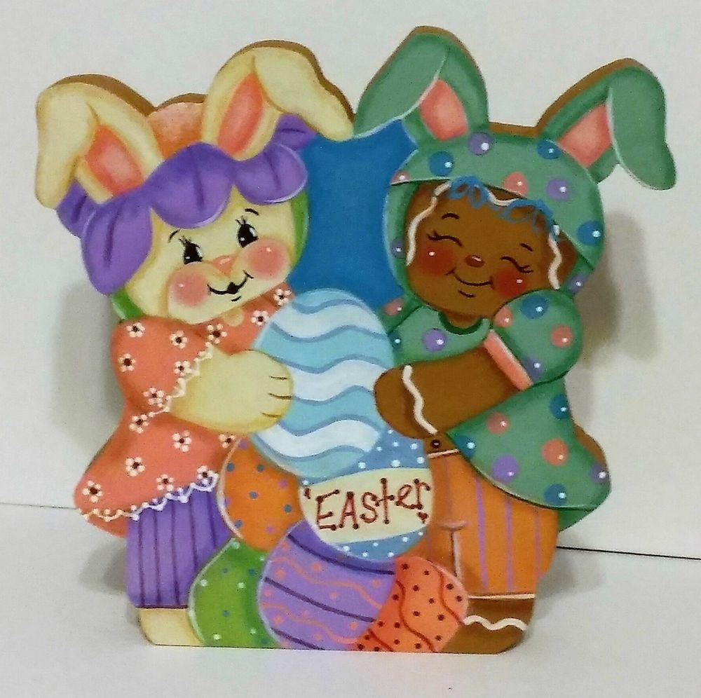Hand Painted Shelf Sitter Gingerbread Easter friends  a Ginger and Bunny #HandPainted