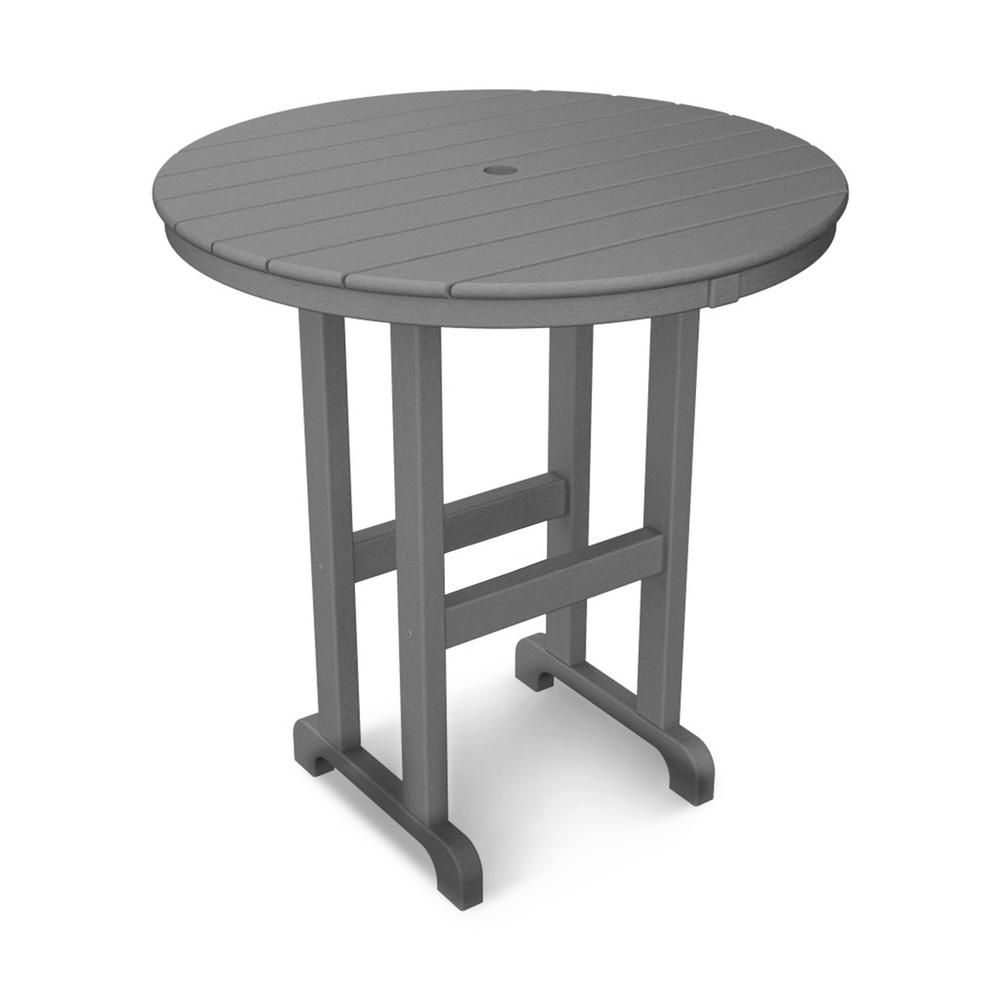 Polywood La Casa Cafe 36 In Slate Grey Round Plastic Outdoor