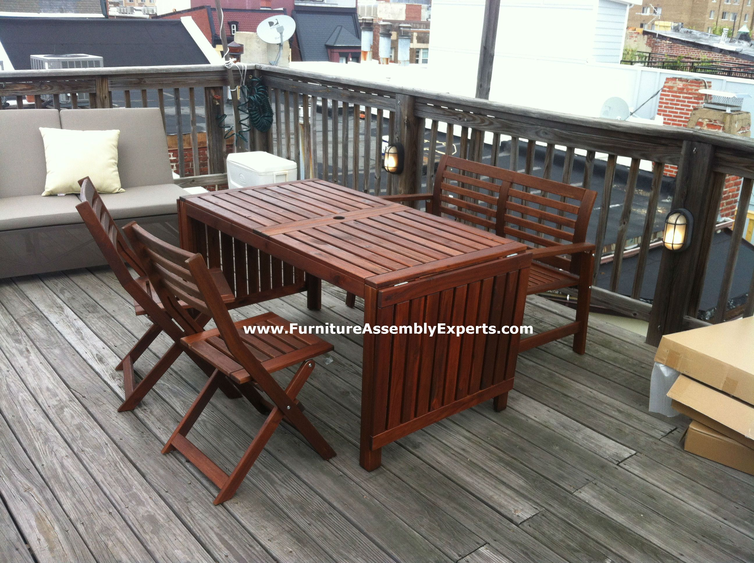 ikea applaro patio table, bench and 2 chairs assembled in ...