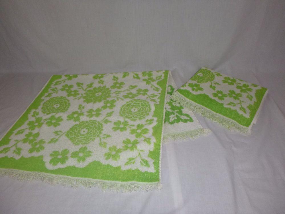 Details About Pr Vtg Cannon Bath Towels Lime Green White Zinnias