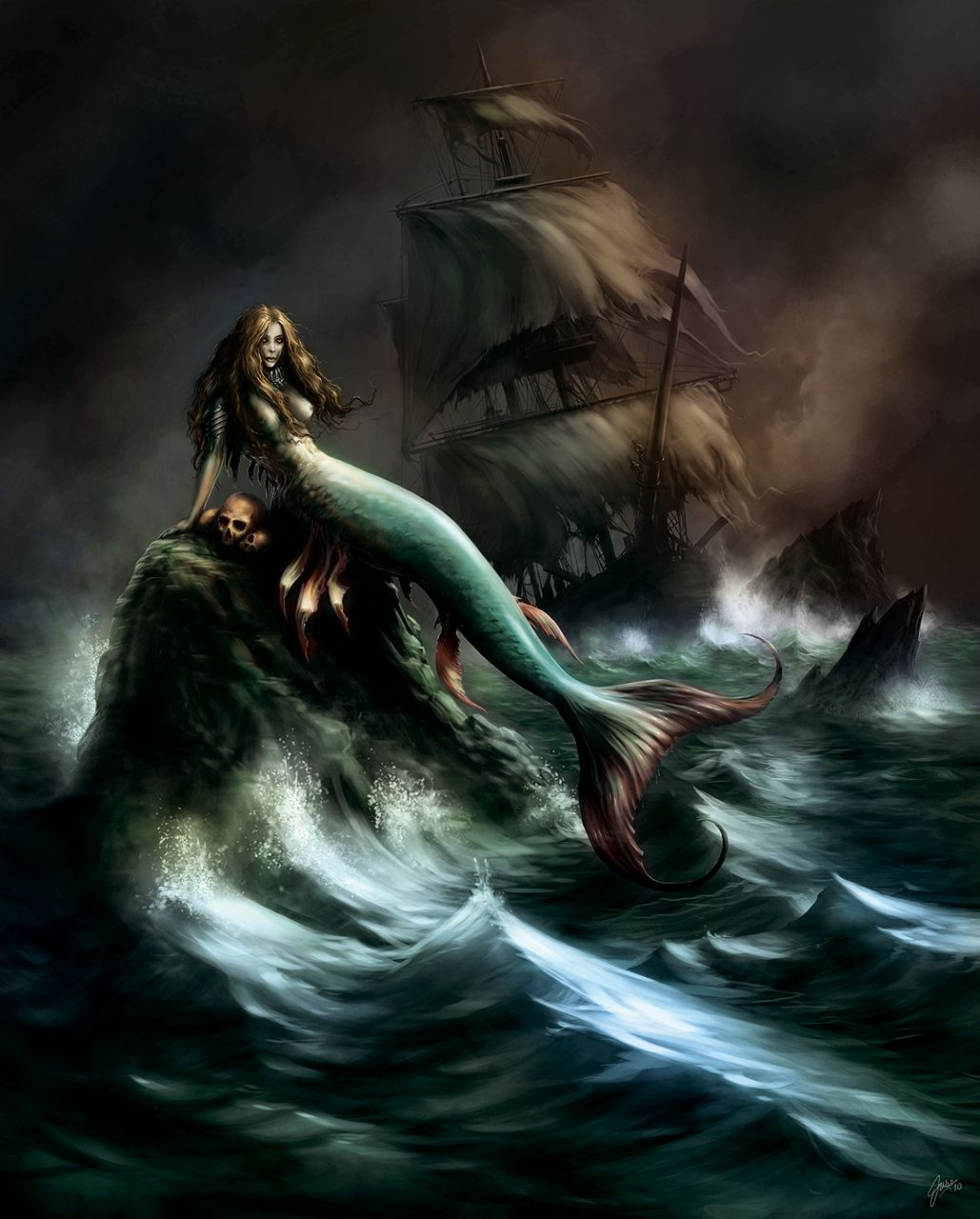 dark art wallpaper mermaids