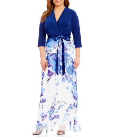 d0041d3dccc Shop for Leslie Fay Plus 3 4 Sleeve Floral-Print Maxi Dress at Dillards.com.  Visit Dillards.com to find clothing