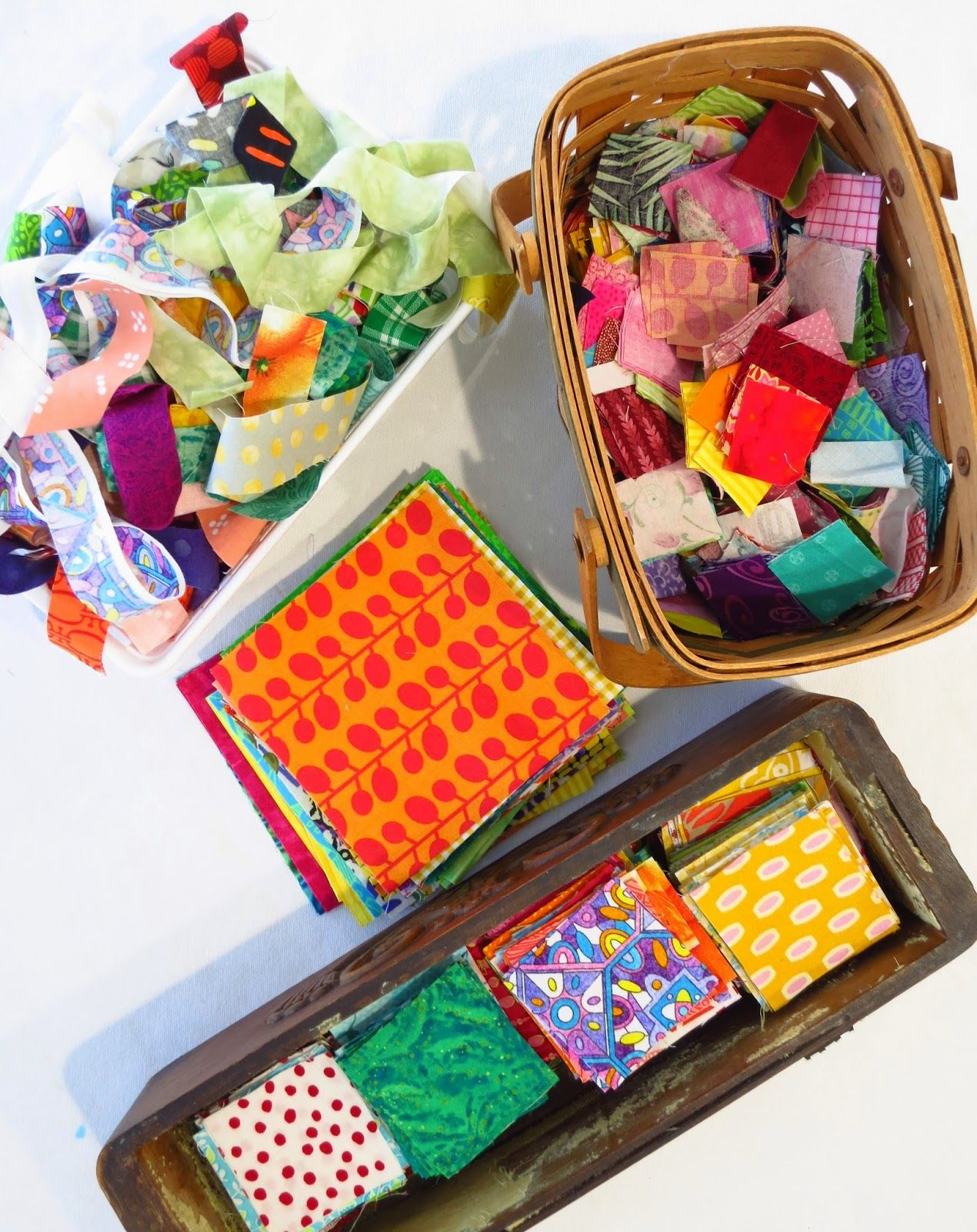 Sorting and organizing scraps - with quilt idea.   Flourishing Palms