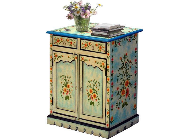 2 Trg Schrank Painted Aus Mangoholz Mehrfarbig Blau Decorative