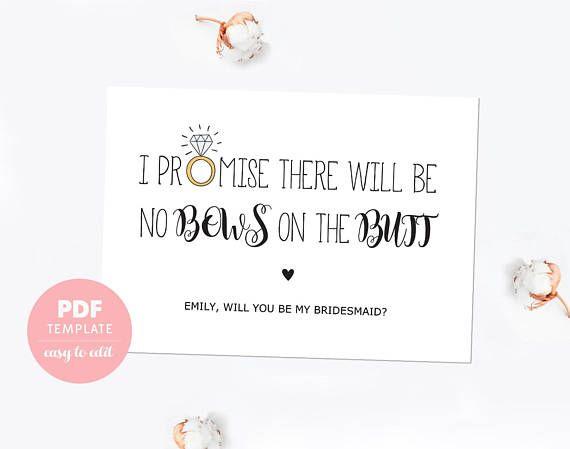 Bridesmaid Proposal Card Funny Bridesmaid Template Card Made Of