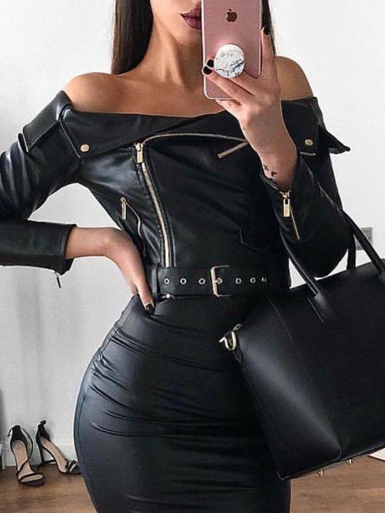 3068db0a9907 Off Shoulder Zipper Design Belted PU Dress in 2019 | fashion ...