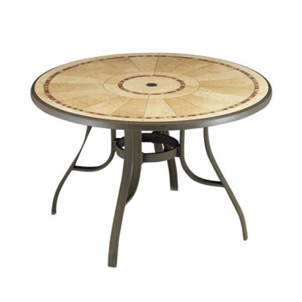 Louisiana Outdoor Pedestal Table 48 Round With Umbrella Hole