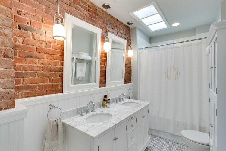 Pendelleuchten im Bad in Marmor mit Ziegelwand Ziegelwand Pinterest