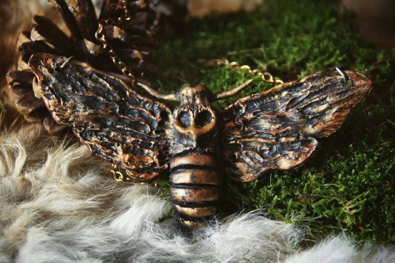 Moth Necklace Moth Hairpin Gothic Witchy Alternative Anhanger Kette Statement Kette Und Kette