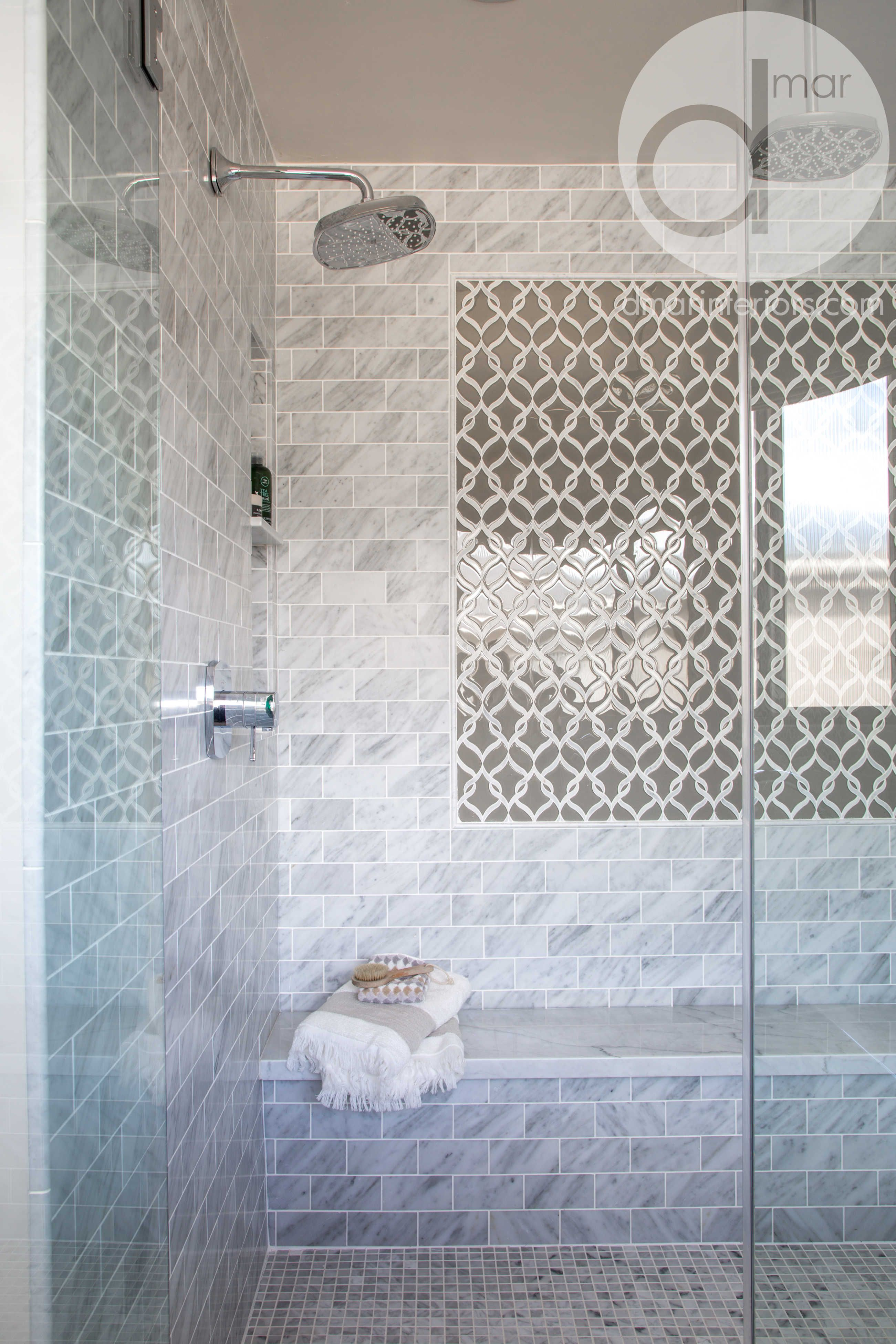 Fully custom master bathroom, carerra tile, shower flooring, tile ...