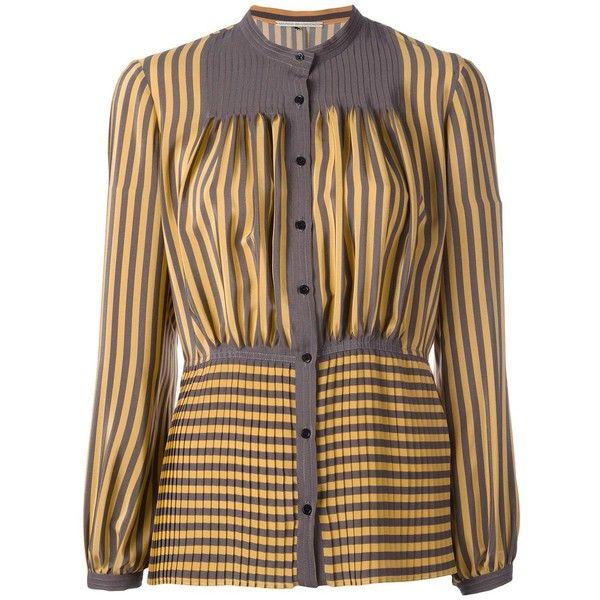Marco De Vincenzo stripes pleated shirt ($964) ❤ liked on Polyvore featuring tops, brown striped shirt, yellow top, stripe top, striped top and striped shirt