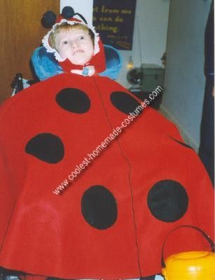 Homemade Ladybug Wheelchair Costume Idea: Years ago we read a suggestion in Exceptional Parent magazine to incorporate the wheelchair into the Halloween costume. We've had lots of fun doing just