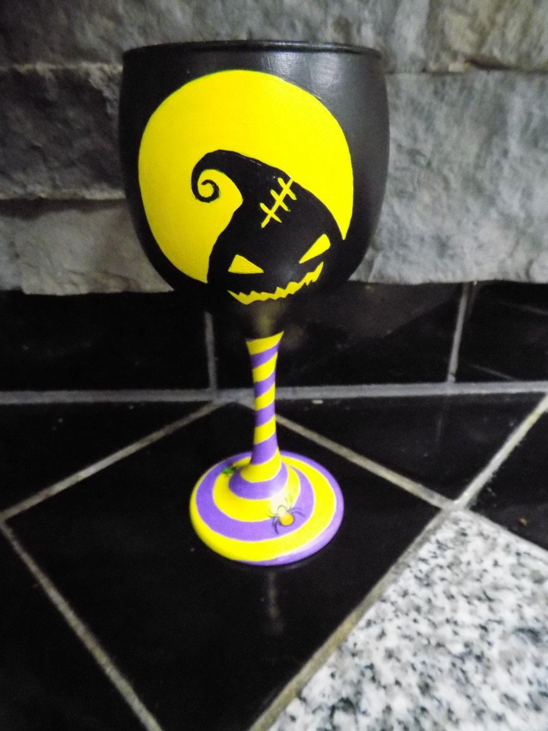 Hand Painted Oogie Boogie Wine Glass From Nightmare Before Christmas ...